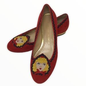 Charlotte Olympia | Red Gold Blond Girl Flats 38.5